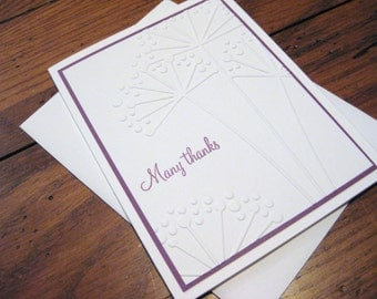 Many Thanks with Embossed Flowers - Handmade Greeting Card