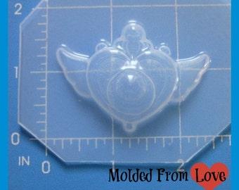 SALE Small Anime Sailor Girl Inspired  Heart locket  Flexible Plastic Handmade Resin Mold-