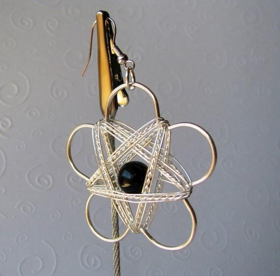 Metal Daisy Dangle Earrings Silver Wire Wrapped Black Bead Center Modern Flower Fun Flirty Spring Free Shipping