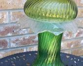 Vintage and Repurposed Glass Candle Holder or Bird Feeder Garden Art