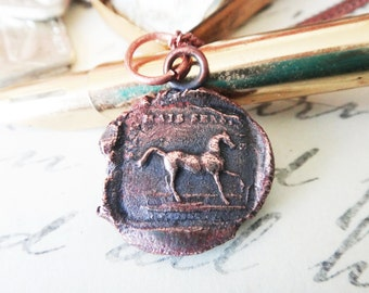 Horse Wax Seal Pendant - Equestrian Necklace of Passion and Compassion - Fiers Mais Sensible