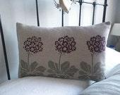 hand printed auricular flower cushion cover