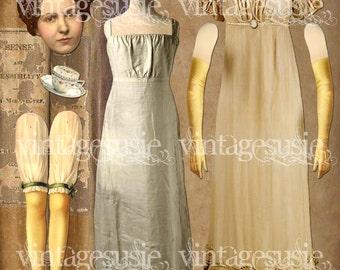 Jane Austen Sense & Sensibility Art Paper Doll Collage Sheet 'Elinor Dashwood' digital download