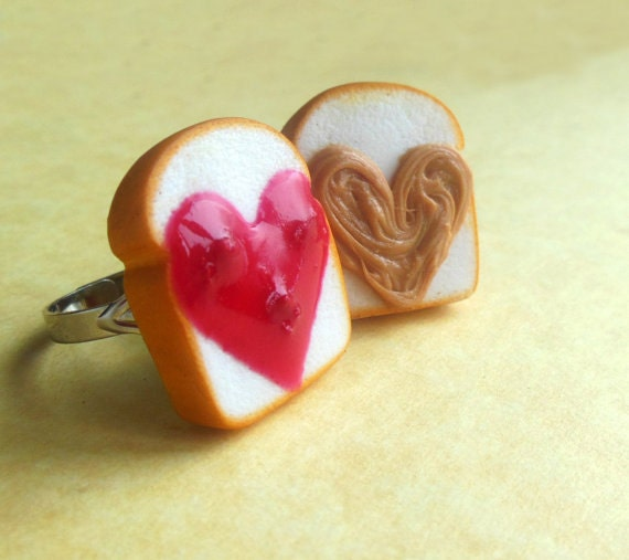 heart shaped strawberry peanut butter and jelly best friend rings polymer clay bff valentines day