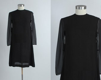 1960s vintage Rudi Gernreich black silk chiffon mini dress * 60s designer * amazing condition 5S839