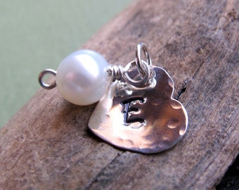 Personalized Heart Pearl Charm - Sterling Silver Hand Stamped Heart with Freshwater Pearl for Necklace - June Birthdays - Initial Dangles