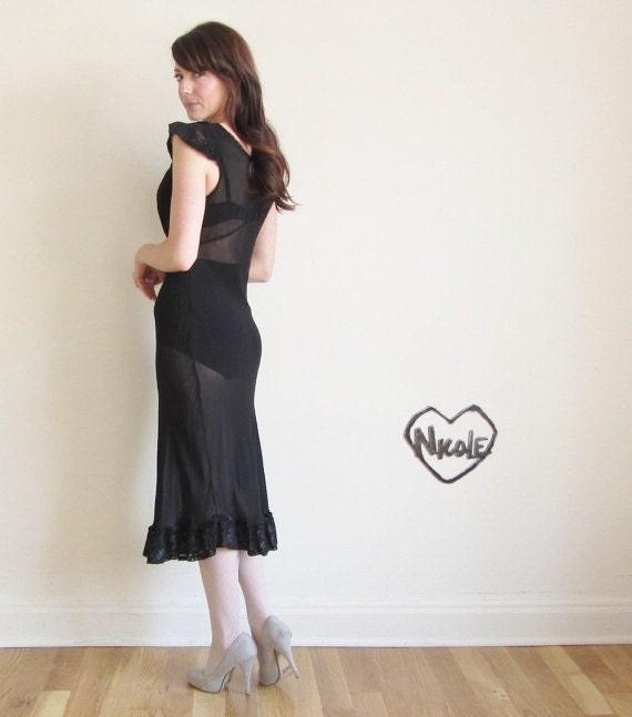 1940 sheer crepe gown . black lingerie lace dress .small.medium .sale