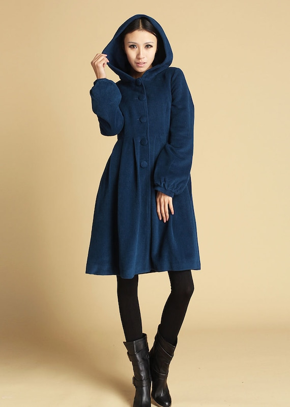 Items similar to Blue women's jacket wool hooded coat (476) on Etsy