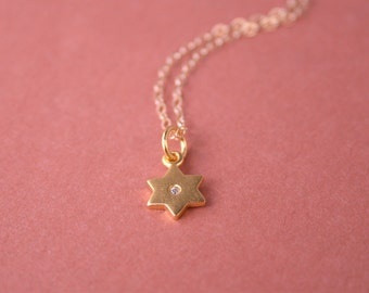 Star of David Necklace 24kt Gold Vermeil with Diamond