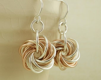 Sterling Silver and 14kt Rose Gold Filled and 14kt Yellow Gold Filled Eternity Earrings - Stunning Chainmaille