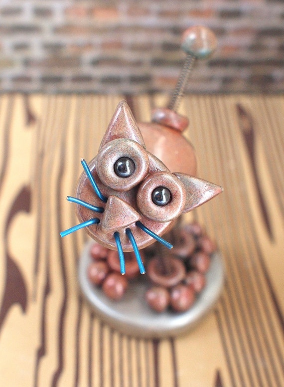 Mini Mack the Robot Cat Sculpture Faux Stoneware Kitty - Clay, Wire