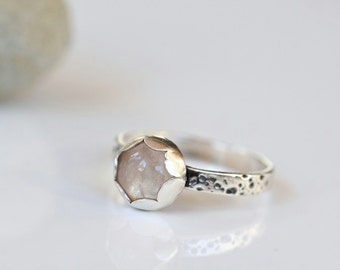 Rose quartz ring, sterling silver ring, size 7 ring, textured ring, rose quartz jewelry, stacking ring, ready to ship ring