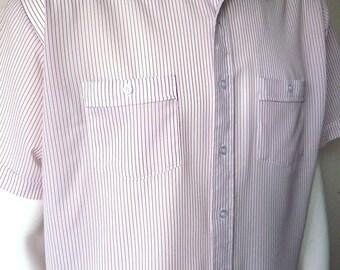 Vintage Men's 80's Shirt, White, Red, Striped, Short Sleeve, Button Up (XL-XXL)