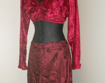 Egyptian Tribal Fusion Bellydance Dark Rose and Maroon Choli and Harem Pants Set- 006