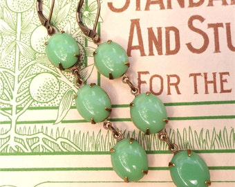Mint Green Milk Glass Triple Drop Earrings Retro Celery Celdadon Rhinestone
