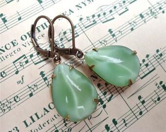 Mint Green Earrings Milk Glass Spring Green Moonstone Earrings Milk Glass Pear Drops
