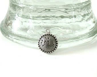 Iron and Silver Pendant/Cast Iron/Sterling Silver/6th Wedding Anniversary