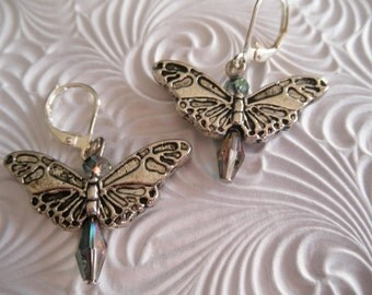 Crystal Butterfly Leverback Earrings with Sparkling Glass Crystal Color Shift-Change Beads-Symbolizes Transformation
