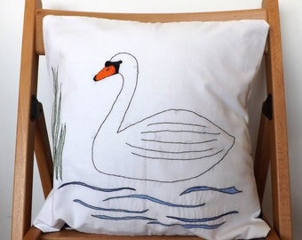 Swan Embroidered Cushion Cover