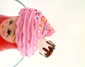 CUPCAKE HEADBAND  cupcake Halloween costume fake cupcake photo prop session shoot and  Katy Perry costume first birthday party ,pink icing
