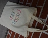 Personalized Tote Bag, Embroidered Name Canvas Tote Bag, Library Bag, Baby Bag, Diaper Bag, Preschool Bag, School Bag, Canvas Bag