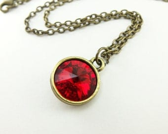 Vibrant Red Necklace Antiqued Brass Jewelry Candy Apple Red Modern Necklace Crystal