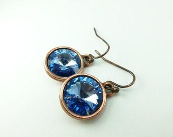 Light Sapphire Copper Drop Earrings Crystal Earrings Light Blue Dangle Earrings Blue Jewelry
