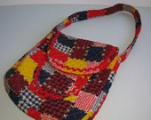 Boho, Hippie, Quilted patch pattern Tote Bag,  purse. Unique handbag. Vintage 1970.