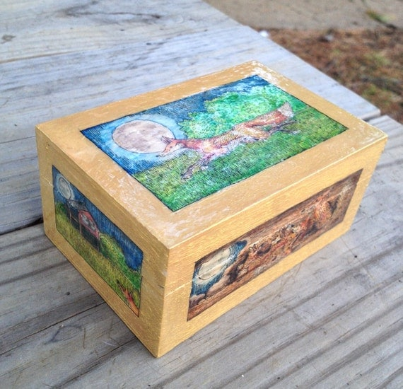 The Fox Went Out On A Chilly Night Themed Wooden Trinket Box - Hand Painted