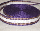 Purple, gold, and white inkle trim (over 14 feet - hand woven)