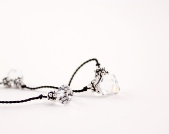 Crystal and Black Silk Necklace, Swarovski, Knotted Silk Cord