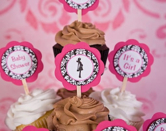 Hot Pink & Black Damask Baby Shower Cupcake Toppers - Baby Shower Decorations - Damask Party Decorations - Mom to Be (12)