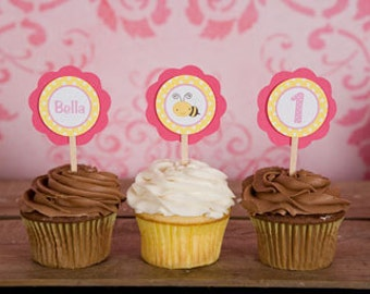 CUPCAKE TOPPERS - Bee Themed Happy Birthday Party Decorations - Happy Bee Day in Yellow and Pink (12)