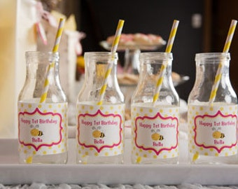 Bee Water Bottle Labels - Birthday Party and Baby Shower Decorations - Yellow & Pink Bee Theme (12)