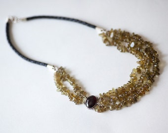 OOAK Green and red wine garnet with leather braided cord and silver handmaded elements made in israel