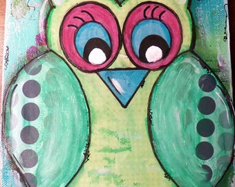 "Original Mixed Media on 6x12 Canvas - Painting Home Decor Artwork - Folk Art - ""Melody Blue Owl"""