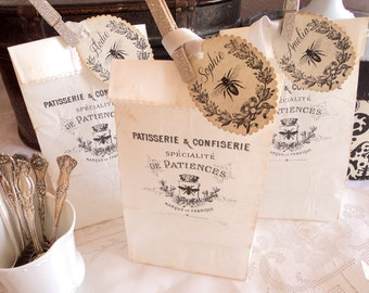 Bee Patisserie. Eight Distressed French Label  Favor Bags with Personalized Tags