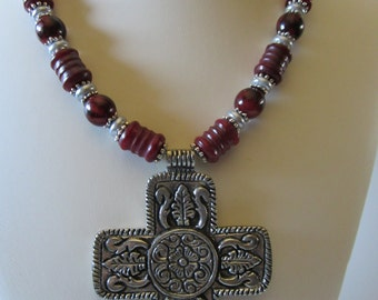 Red New Jade Carved tubes with antique aluminum Cross,Fall Necklace, Religious Jewelry,Rustic Jewelry,Autumn Jewelry,Winter Jewelry,Holiday
