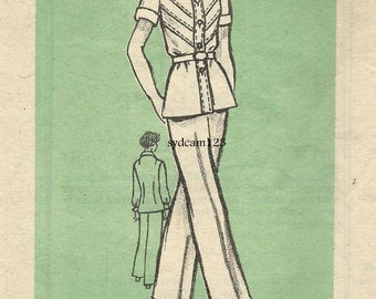 Vintage 1977 Button Front Blouse Chevron Pattern Topstitching & Wide Legged Pants...Mail Order 9377 Bust 34