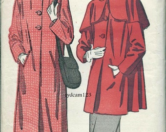 Vintage 1940s Swing Back Coat Pattern Optional Overcape Two Lengths Peter Pan Collar 1948 Advance 4814 Bust 36 UNCUT