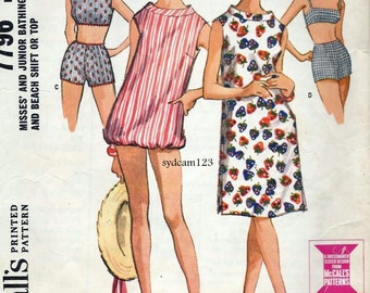 Vintage 1965 Bathing Suit Pattern Boy Shorts Sleeveless Coverup with Elastic Hem or Shift 1960s McCall's 7796 Bust 31