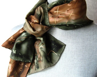 Silk Scarf Hand Painted in Olive and Brown with Gold Accent