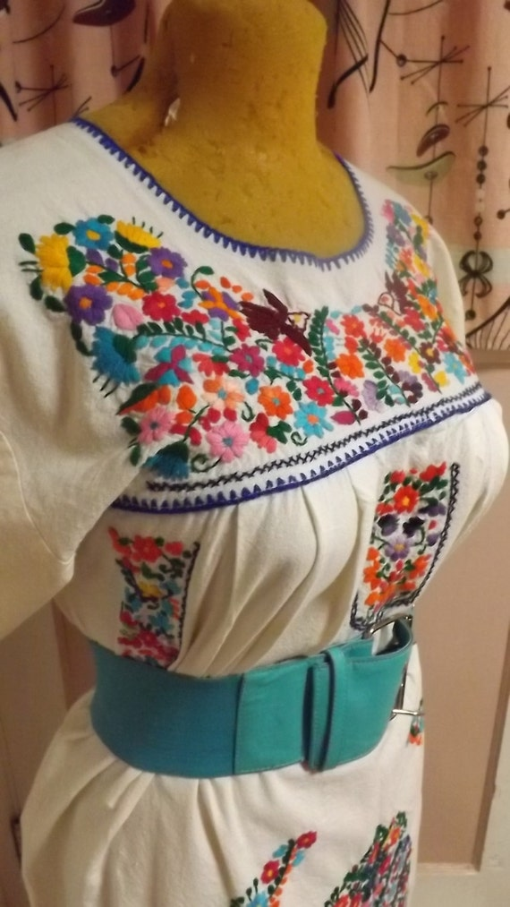 Vintage Plus Size Mexican Boho Embroidered Cotton Dress
