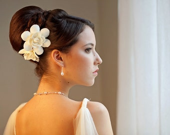 SET of 2 Gardenia hair clips, Wedding Headpiece, Bridal Hair Flower, Fascinator, Hair pin
