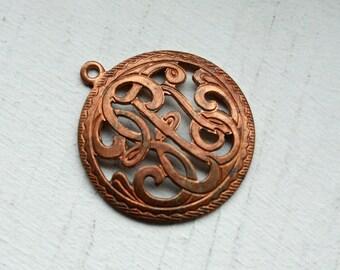 1 Vintage 1940s / 50s Edwardian Art Nouveau Monogram Pendant // Titanic Era Copper / Brass Monogram