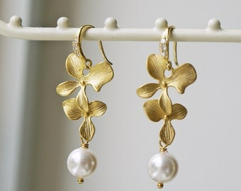 White Pearl Matte Gold Orchid Earrings Swarovski Pearl Cubic Zirconia Wedding