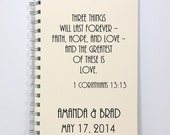 Large Journal Notebook Wedding Planner - Faith, Hope, and Love - 1 Corinthians 13:13 - Large Size 8.5 x 5.5 inches - Ivory