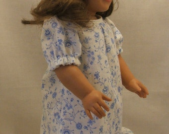 Floral Nightgown, Eye Mask, and Slippers For  American Girl