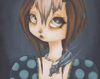 Fairy goth dragon girl lowbrow fantasy art print -Dragonkin - Alessa