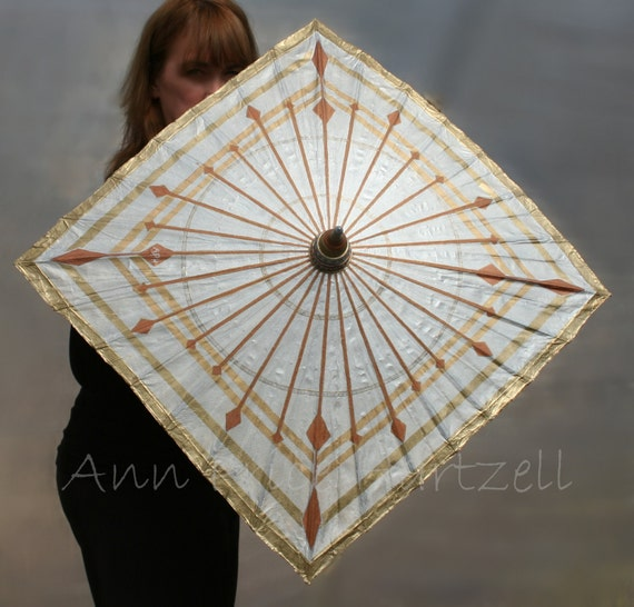 Square Parasol handpainted metallics